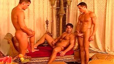 European hunks with amazing bodies get together for a gay threesome