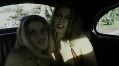 Blonde hotties eat out each other's holes and share a big black prick