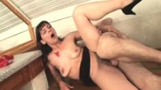Slender brunette milf Gina has a hard stick banging her hairy snatch