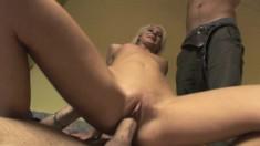 With her boyfriend tied up, a cute slim blonde enjoys hot cuckold sex