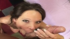 Horny bitch Syren De Mer slips off her red dress to get her shaved pussy pounded