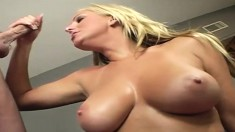 Busty Emiliana greases up her sexy curves and has fun with Nick East