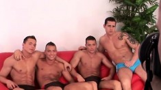 Good-looking inked guy gets to fuck his friends in this gay orgy