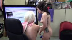 Wild girls Jacky Joy and Gaberilla Paltrova get pounded by two studs