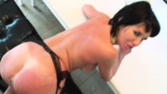 Brunette MILF sucks a big rod and gets her bald cunny drilled hard