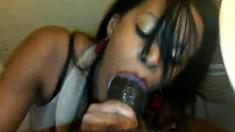 Nasty Ebony Candy Stick Makes Handjob And Blowjob