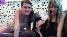 Lesbian Fun Blonde Brunette Toying Shaved Pussy