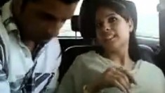 Amateur indian couple in car gets naughty