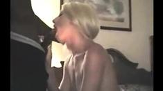 One blonde milf and three horny big cocks