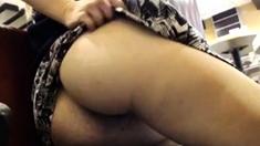 Girl fingers ass at burger place