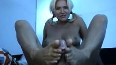 Amateur Nudist Hand Job and Footjob