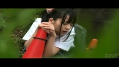 Asian amateur couple outdoor fuck