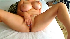 Fat whore with big boobs masturbating and cumming on webcam