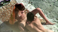 Girl with nice boobs on the beach Espana voyeur video